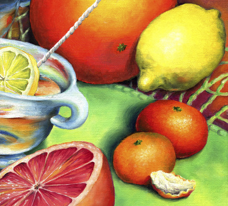 Tea with lemon, grapefruit and tangerines. Citrus still-life painted in oil on canvas. Banque d'images