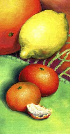 Two mandarin, lemon and grapefruit. Citrus fruit, painted in oil on canvas. Banque d'images