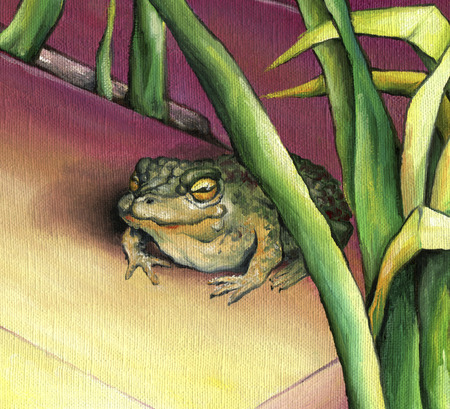 Big toad on the background of the picturesque reeds. Green toad depicted in oil on canvas.