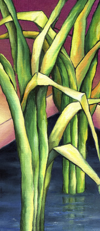 Coastalwater plant scirpus. Bright colorful reeds depicted in oil on canvas. Stock Photo