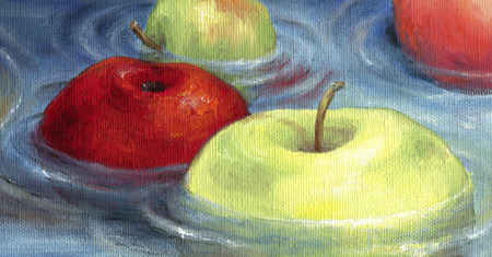 water surface: Red and green apples floating on the water surface. Floating apples depicted in oil on canvas.