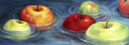 Colorful apples floating on the river basin. Apples, floating on the water surface, creating radial circles. Art illustration.