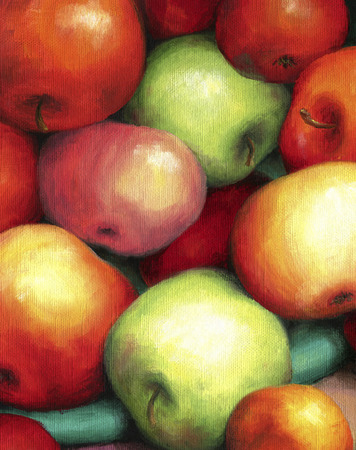 Rich harvest of ripe, juicy and tasty apples. Red and green apples are shown in oil on canvas.