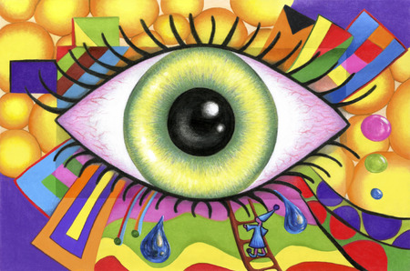 Human eyes on colorful abstract background. Visual way of perceiving the world.