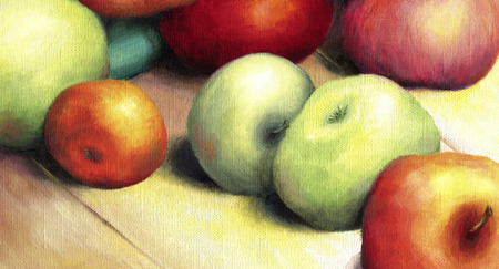 Sunlit ripe green and red apples. Seductive apples lie on a wooden surface lit by the bright rays of the sun. Oil on canvas Banque d'images