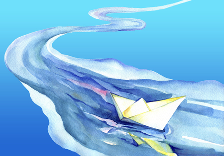 watercolor paper: White paper ship sails on the waves. Watercolor painting of the ship and sea water. Stock Photo