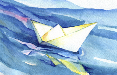 White paper ship sails on the waves. Watercolor painting of the ship and sea water. Banque d'images