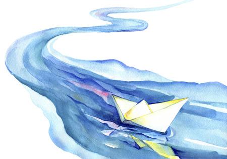 ホワイト ペーパー ボートが水に浮かんでいます。川と白い背景の上に船の水彩画。