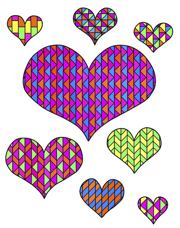 Multicolored hearts on a white background.Drawings of hearts from bright polygons. Geometric patterns. Banque d'images