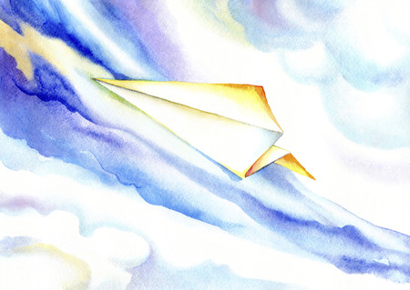 Paper plane soaring in the blue sky.Watercolor drawing of an airplane on a background of clouds.