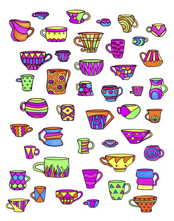 Sketch colorful cups and mugs. Bright dishes for hot and cold drinks