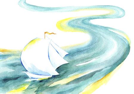 강물에 떠있는 항해 배입니다. 흰색 돛, 바람, 흰색 배경에 에메랄드 리버와 요트의 수채화 그림.