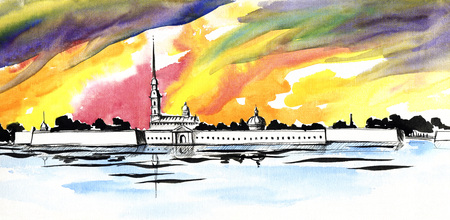 Peter and Paul fortress in Saint-Petersburg on a bright watercolor background.Landscape watercolor painting of the river Neva and the fortress on the island