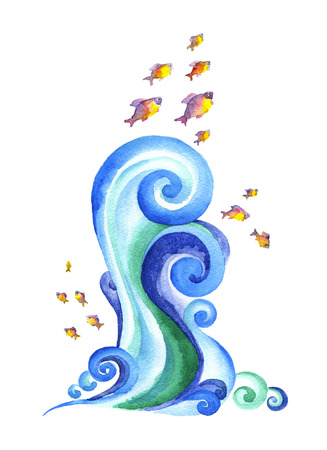 The swirling blue waves of the seas, oceans, rivers.Watercolor painting of a fish jumping through the waves