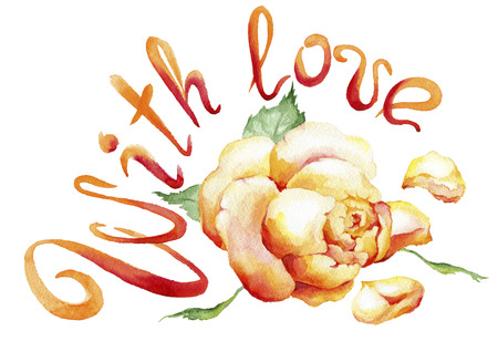 Watercolor painting of rose bud and the text: