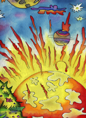The sun planet in outer space.Watercolor painting on fabric Banque d'images