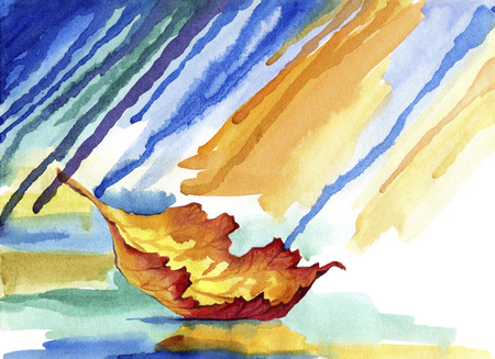 Floating autumn leaf in the rain.Watercolor painting of fallen leaf, and autumn weather