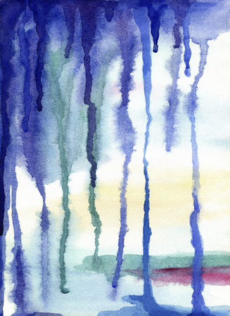 Abstract watercolor painted background.The effect of the vertical drips of water on the paper, the glass