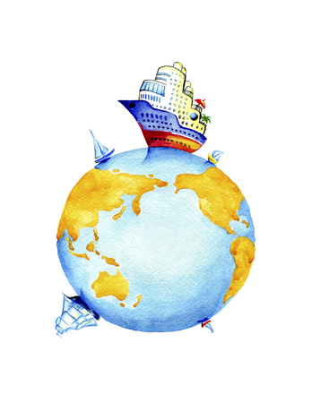 Planet Earth and world waterways transport.Watercolor painting on white background