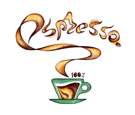 A cup of coffee and fragrant inscription espresso.Watercolor illustration of hot coffee on a white background Banque d'images