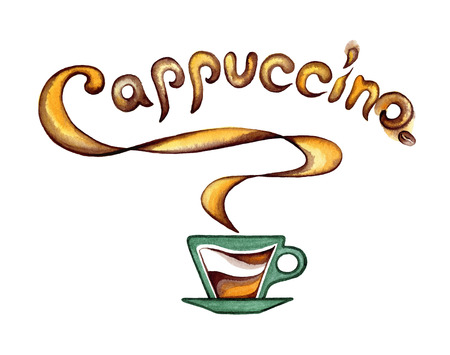Cup of coffee with milk and flavored cappuccino inscription.Watercolor painting on white background