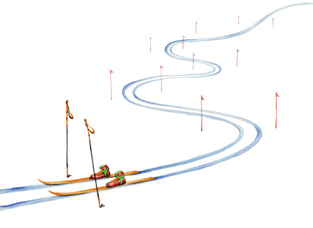 Ski track and ski equipment.Watercolor painting on white background