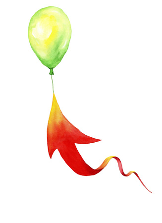 Red arrow, aiming the balloon.Watercolor painting on white background Banque d'images