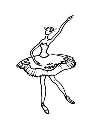 A sketch of a dancing ballerina in a tutu.Linear drawing on a white background