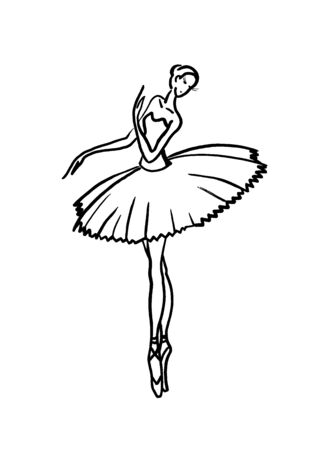 silhouette of a classical ballerina in a tutu and pointe shoes.Linear drawing on a white background