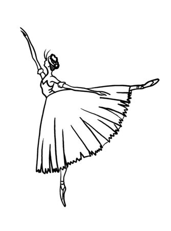 a ballerina in a Chopin skirt and standing on a fingers.Linear drawing on a white background