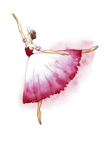 Ballerina in a skirt chopinck, standing on a toe.Watercolor drawing on a white background Banque d'images