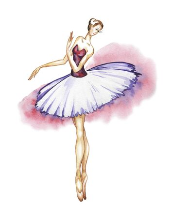 Classical ballerina in a tutu and pointe shoes. Watercolor drawing on a white background