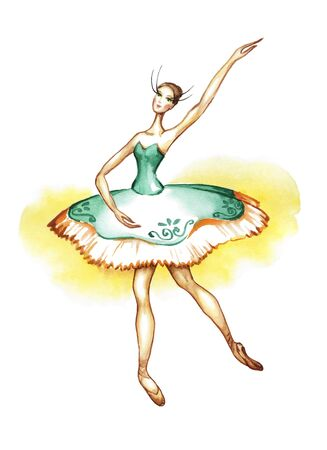 Dancing ballerina in a theatrical costume and pointe shoes. Watercolor drawing on a white background