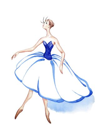 Silhouette of a dancer in a theatrical costume. Watercolor drawing on a white background
