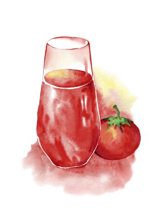 A glass of tomato juice and a red ripe tomato.Watercolor drawing on a white background