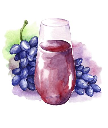 Grape drink in a glass and a bunch of black grapesWatercolor drawing on a white background. Banque d'images