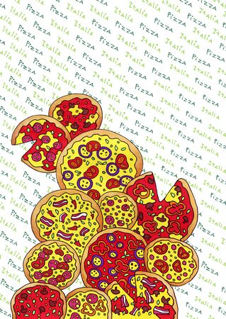 Italian pizzas in the assortment .right drawing that excites the appetite Banque d'images