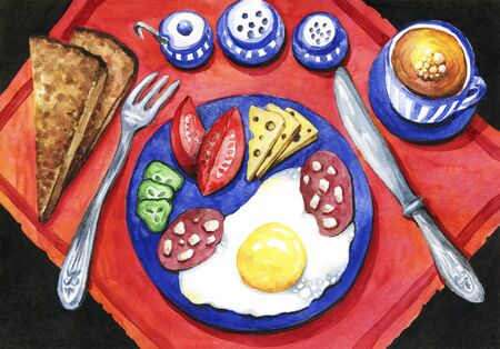 Breakfast of eggs with sausage, cheese and vegetables. Black bread and a cup of coffee.Bright watercolor drawing Banque d'images