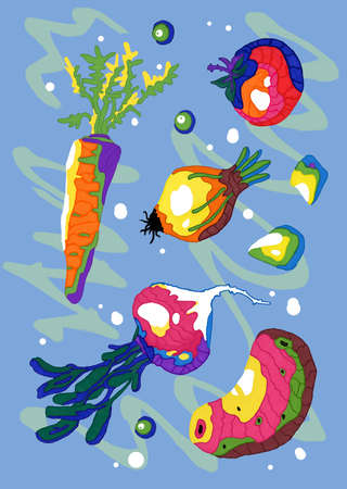 A set of fresh vegetables for cooking hot and cold dishes. Drawn products on an abstract background