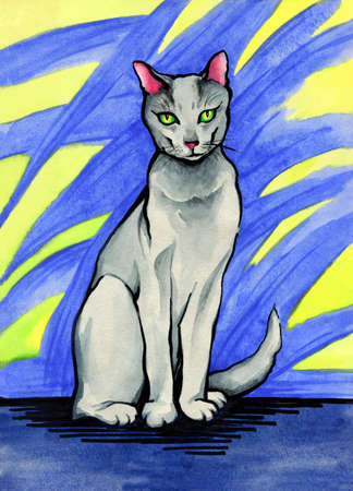 Russian blue cat.Watercolor drawing on an abstract background Banque d'images