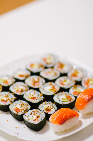 japonese dish. sushi rolls with rise and salmon