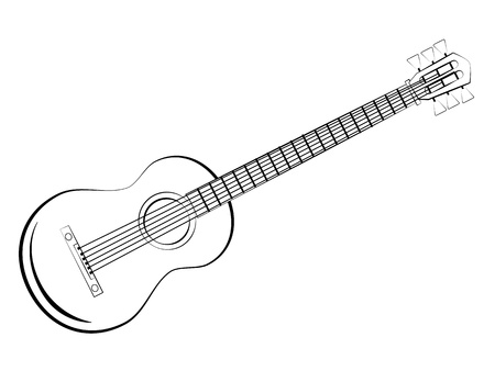drawing instrument: Classic guitar sketch