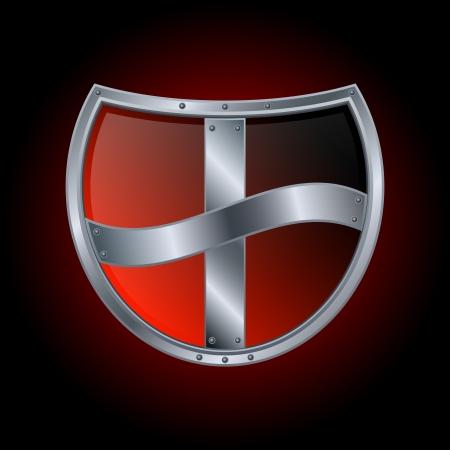 iron defense: Vector shield icon Illustration