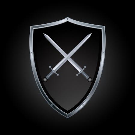 croix de fer: Bouclier Vector ic�ne �p�e Illustration
