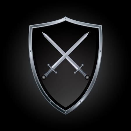 iron defense: Vector shield and sword icon