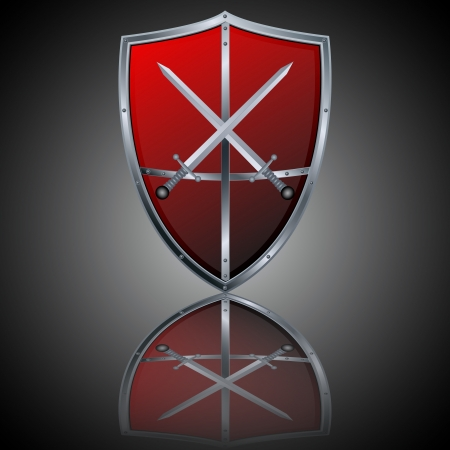 iron cross: Vector shield and sword icon