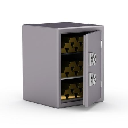 Coffre-fort avec des barres d'or Banque d'images - 15855675