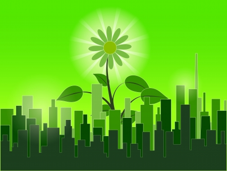 Green city wallpaper Stock Vector - 18919961