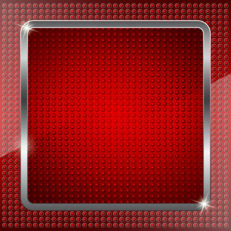 Red fluorescent background with metal frame Vector