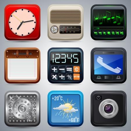clock radio: Los iconos de aplicaci�n conjunto de vectores Vectores